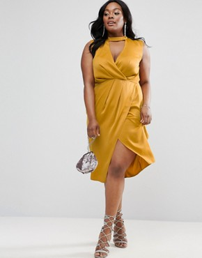 photo Choker Neck Detail Drape Front Midi Dress by ASOS CURVE, color Mustard - Image 4