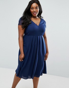 photo Kate Lace Cowl Back Midi Dress by ASOS CURVE, color Navy - Image 2