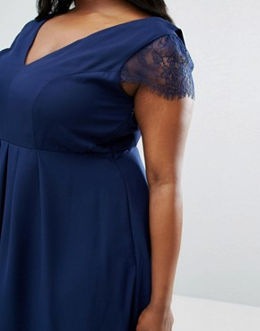 photo Kate Lace Cowl Back Midi Dress by ASOS CURVE, color Navy - Image 3