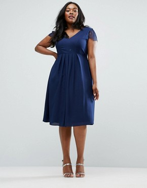 photo Kate Lace Cowl Back Midi Dress by ASOS CURVE, color Navy - Image 4