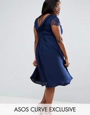 photo Kate Lace Cowl Back Midi Dress by ASOS CURVE, color Navy - Image 1