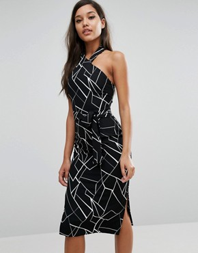 photo Halterneck Midi Dress by Lavish Alice, color Black/White - Image 1