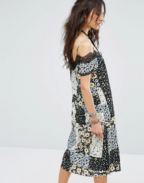photo Cami Slip Dress In Mixed Print with Lace Trim by Glamorous, color  - Image 2