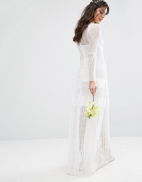 photo Bridal Pleated Maxi Dress with Fluted Sleeves by Body Frock, color Ivory - Image 2