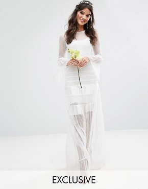 photo Bridal Pleated Maxi Dress with Fluted Sleeves by Body Frock, color Ivory - Image 1