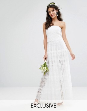 photo Bridal Tiered Maxi Dress by Body Frock, color Ivory - Image 1