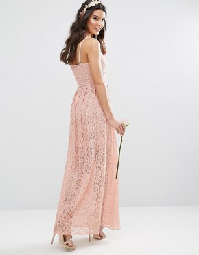 photo Cami Strap Maxi Dress in Allover Lace by Body Frock, color Rose Brown - Image 2