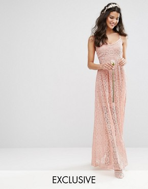 photo Cami Strap Maxi Dress in Allover Lace by Body Frock, color Rose Brown - Image 1