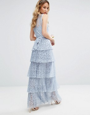 photo Pleated Lace Maxi Dress with Tiers by Body Frock, color Dusty Blue - Image 2
