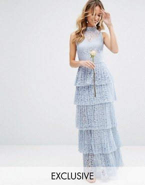 photo Pleated Lace Maxi Dress with Tiers by Body Frock, color Dusty Blue - Image 1