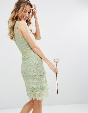 photo Tiered Midi Dress with Embellishment by Body Frock, color Green - Image 2
