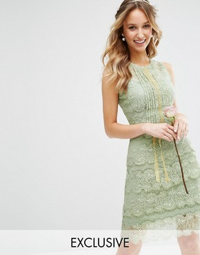 photo Tiered Midi Dress with Embellishment by Body Frock, color Green - Image 1