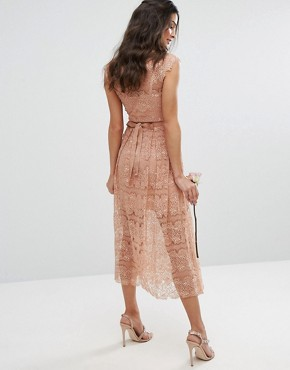 photo Lace Midi Dress with Belt by Body Frock, color Light Caramel - Image 2