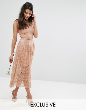 photo Lace Midi Dress with Belt by Body Frock, color Light Caramel - Image 1