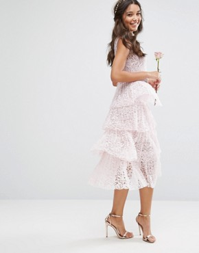 photo Pleated Lace Midi Dress with Tiers by Body Frock, color Petal Pink - Image 2