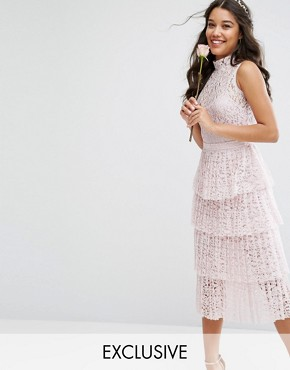 photo Pleated Lace Midi Dress with Tiers by Body Frock, color Petal Pink - Image 1