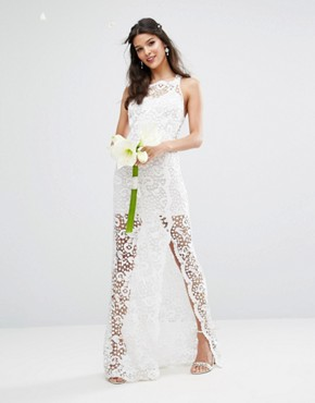 photo Bridal Crochet Maxi Dress with Cross Back by Body Frock, color Ivory - Image 2