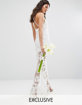 photo Bridal Crochet Maxi Dress with Cross Back by Body Frock, color Ivory - Image 1