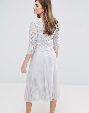 photo Lace Pleated Midi Dress by Oasis, color Grey - Image 2