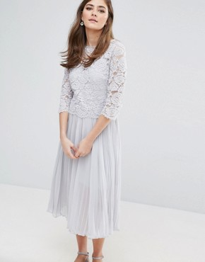 photo Lace Pleated Midi Dress by Oasis, color Grey - Image 1