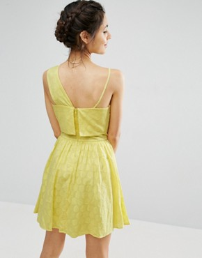 photo One Shoulder Mini Sundress in Dobby Fabric by ASOS, color Yellow - Image 2