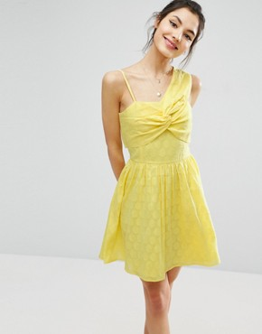 photo One Shoulder Mini Sundress in Dobby Fabric by ASOS, color Yellow - Image 1
