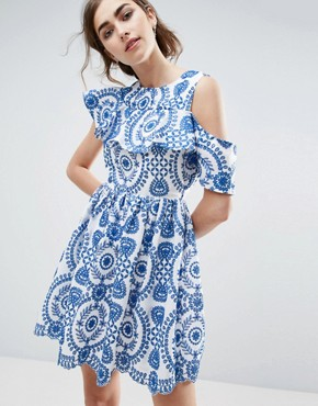 photo Sleeveless Broderie Skater Dress With Ruffle and Open Back by ASOS PREMIUM, color Blue - Image 2