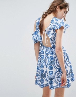photo Sleeveless Broderie Skater Dress With Ruffle and Open Back by ASOS PREMIUM, color Blue - Image 1