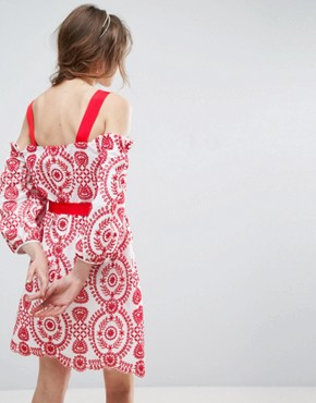 photo Broderie Dress with Grosgrain and Red Trim by ASOS PREMIUM, color Red - Image 2