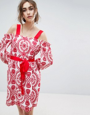 photo Broderie Dress with Grosgrain and Red Trim by ASOS PREMIUM, color Red - Image 1
