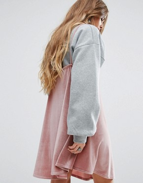 photo 2 In 1 Dress with Velvet Cami and Bell Sleeve Sweatshirt by Rokoko, color Grey/Pink - Image 2