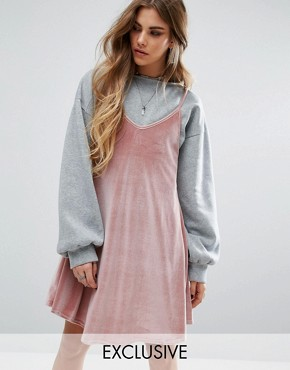 photo 2 In 1 Dress with Velvet Cami and Bell Sleeve Sweatshirt by Rokoko, color Grey/Pink - Image 1