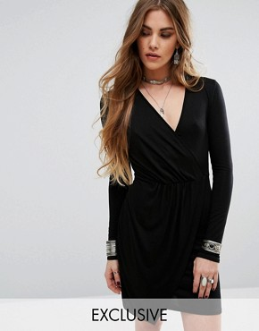 photo Wrap Front Bodycon Dress with Long Sleeves by Rokoko, color Black - Image 1