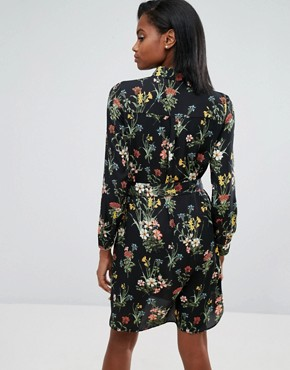 photo Floral Print Pyjama Shirt Dress by Oasis, color Black - Image 2
