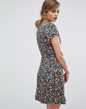 photo Ditsy Print Wrap Dress by Oasis, color  - Image 2