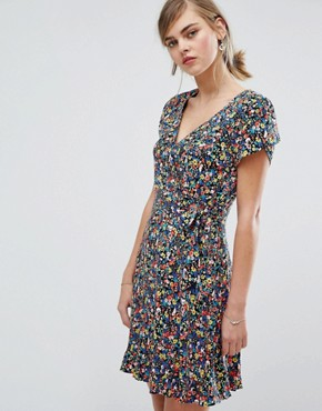 photo Ditsy Print Wrap Dress by Oasis, color  - Image 1