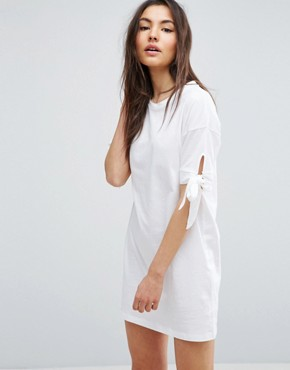 photo T-Shirt Dress with Bow Sleeve by ASOS, color White - Image 1