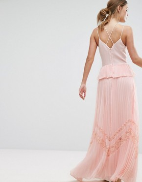photo Pleated Strappy Maxi Dress by True Decadence, color Light Pink - Image 2