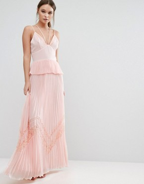 photo Pleated Strappy Maxi Dress by True Decadence, color Light Pink - Image 1