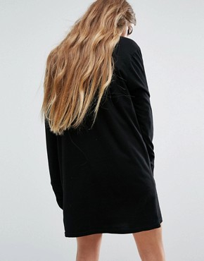 photo T-Shirt Dress With Extra Long Sleeves by Reclaimed Vintage, color Black - Image 2