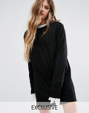 photo T-Shirt Dress With Extra Long Sleeves by Reclaimed Vintage, color Black - Image 1