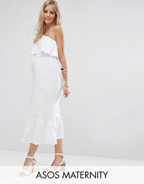 photo Maxi Dress with One Shoulder by ASOS Maternity, color White - Image 1