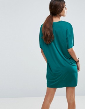 photo Slinky T-Shirt Dress With Pockets by ASOS, color Forest Green - Image 2