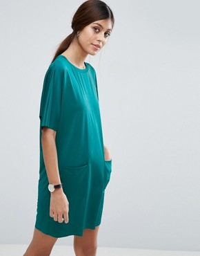 photo Slinky T-Shirt Dress With Pockets by ASOS, color Forest Green - Image 1