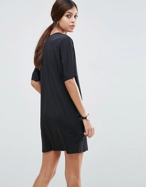 photo Slinky T-Shirt Dress With Pockets by ASOS, color Black - Image 2