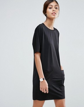 photo Slinky T-Shirt Dress With Pockets by ASOS, color Black - Image 1