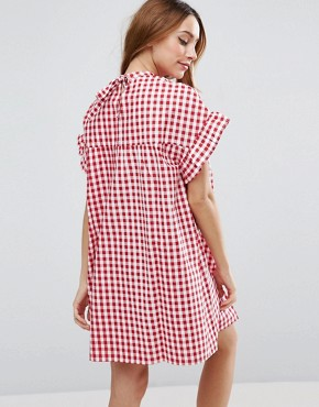 photo Red Gingham Smock Dress by ASOS Maternity, color Red - Image 2
