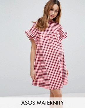 photo Red Gingham Smock Dress by ASOS Maternity, color Red - Image 1