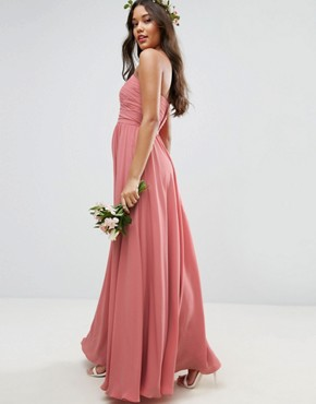 photo Bow Front Bandeau Maxi Dress by ASOS WEDDING, color Nude - Image 2