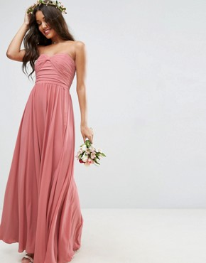 photo Bow Front Bandeau Maxi Dress by ASOS WEDDING, color Nude - Image 1